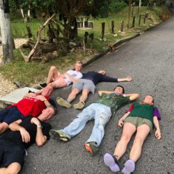 Everyone taking a well deserved rest after hiking